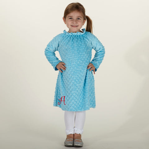 Turquoise Minky Charlotte Dress