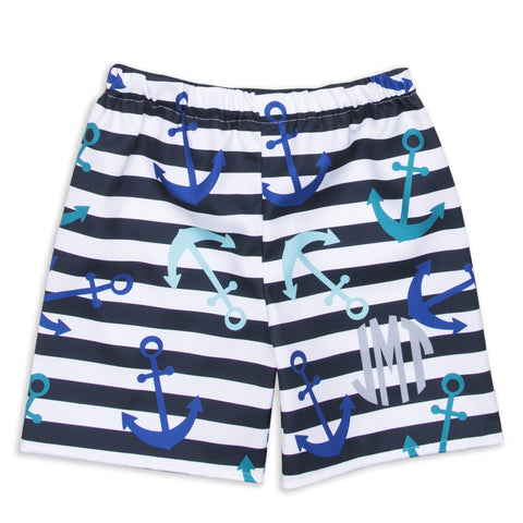Navy Stripe Anchor Shorts