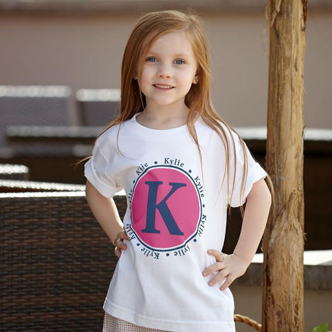 Hot Pink Navy Initial Name Tee