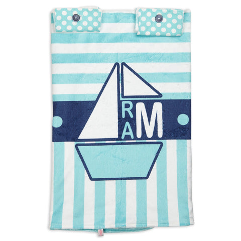 Aqua Stripe Sailboat Minky Initial Carseat Cover