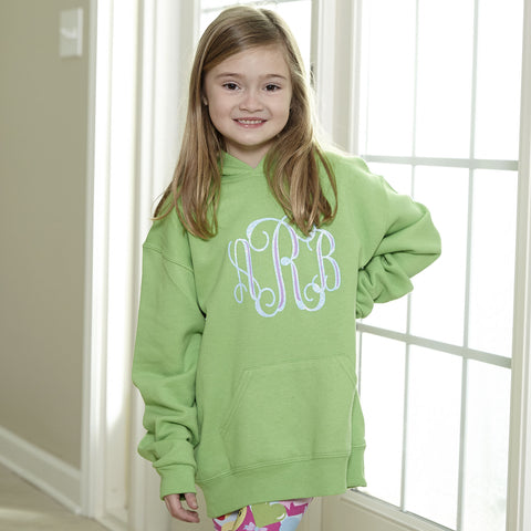 Kiwi Hooded Sweatshirt with Layered Initials