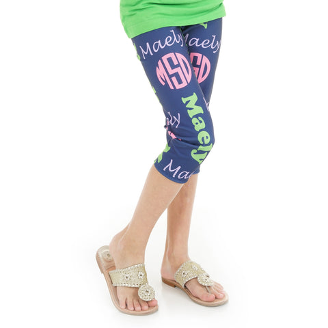 Girls Name & Initials Arden Capri Leggings