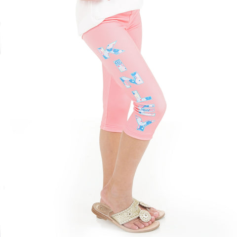 Girls Floral Name Arden Capri Leggings