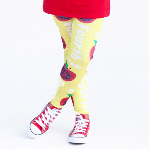 Girls Custom Print Yellow Apple School Arden Leggings