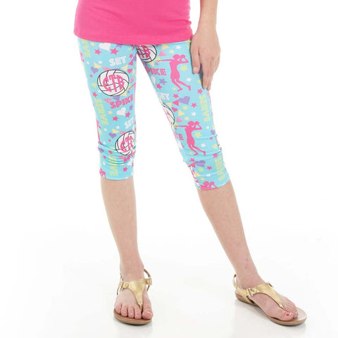 Girls Volleyball Emoji INITIALS Arden Capri Leggings