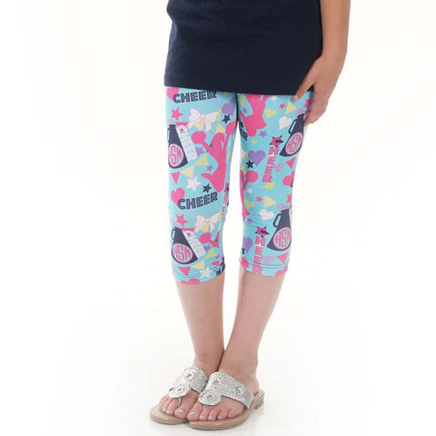 Girls Cheer Emoji INITIALS Arden Capri Leggings