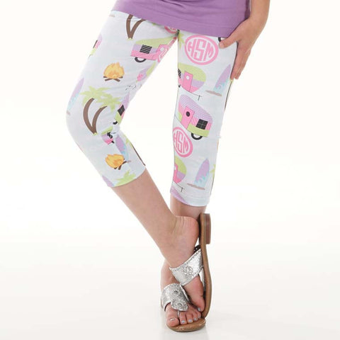 Girls Camping Initials Arden Capri Leggings