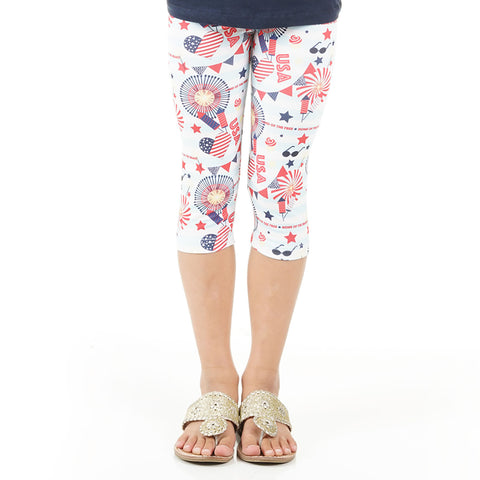 Girls Fireworks Emoji Arden Capri Leggings