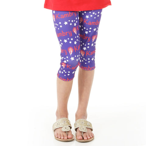 Girls Stars Name Arden Capri Leggings