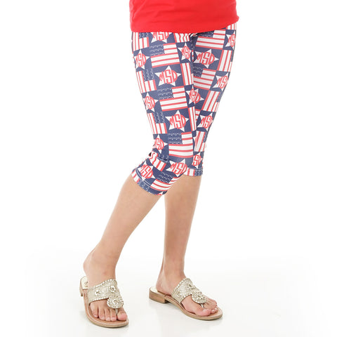 Girls Flag Stars Initials Arden Capri Leggings