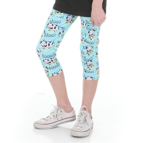 Girls Farm Cow Arden Capri Leggings