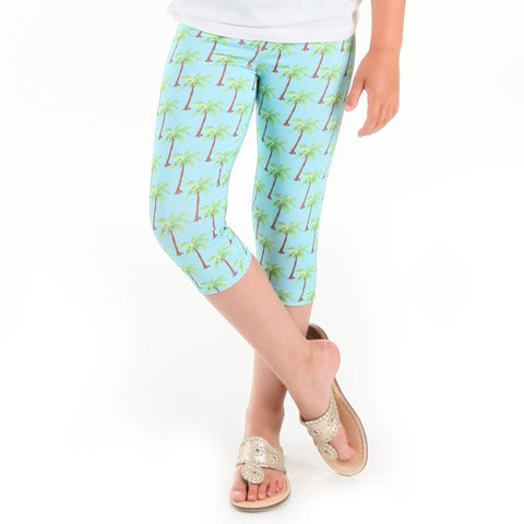 Girls Palm Tree Arden Capri Leggings