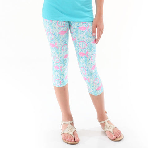 Girls Pink Fish Initials Arden Capri Leggings