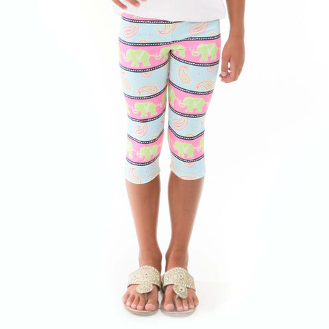 Girls Paisley Elephant Arden Capri Leggings