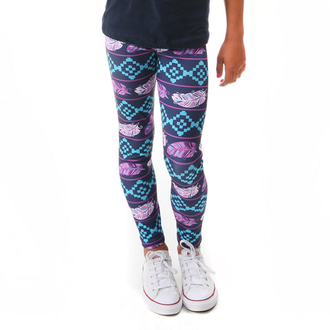 Girls Purple Feather Aztec Arden Leggings