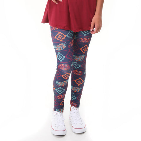 Girls Fall Feather Aztec Arden Leggings
