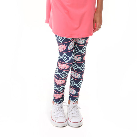 Girls Coral Feather Aztec Arden Leggings