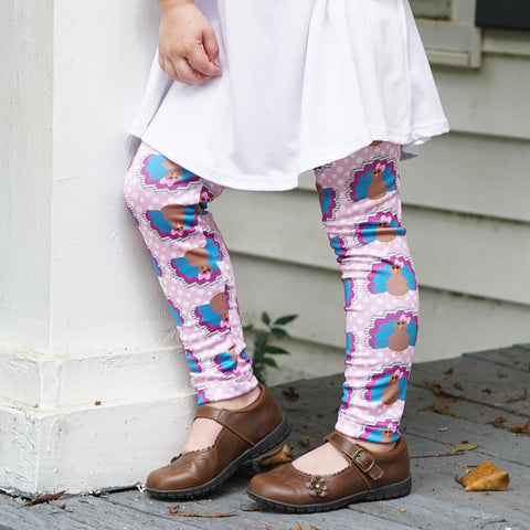 Girls Pink Dot Turkey Arden Leggings