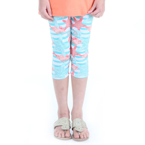 Girls Stripe Sealife Arden Capri Leggings