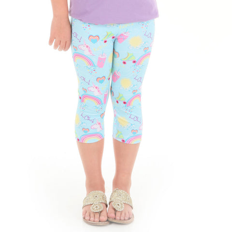 Girls Unicorn Emoji Arden Capri Leggings