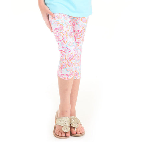 Girls Flower Dots Arden Capri Leggings
