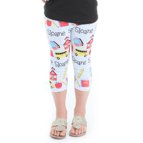 Girls School Emoji Name Arden Capri Leggings