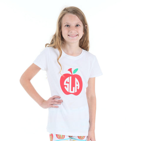 White Apple Initials Tee