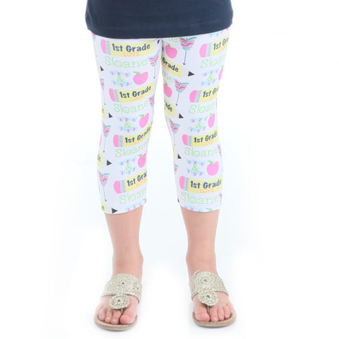 Girls Custom Love Grade Name Arden Capri Leggings