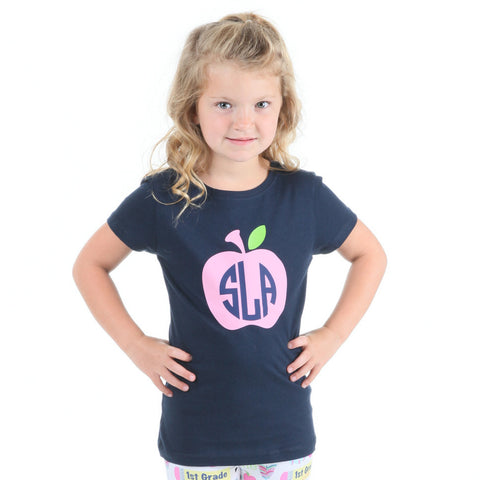 Navy Apple Initials Tee