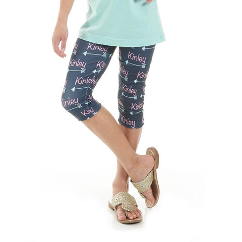 Girls Name Arrow Arden Capri Leggings