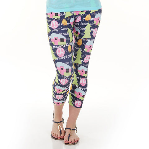 Ladies Camping Initials Arden Capri Leggings