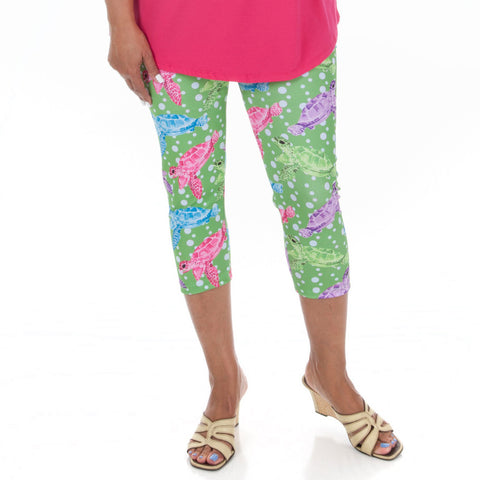 Ladies Sea Life Turtle Arden Capri Leggings
