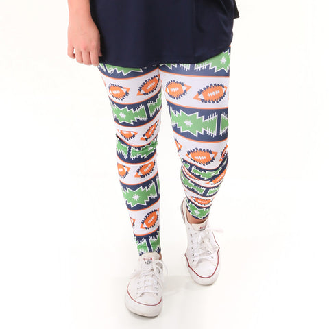 Ladies Orange Navy Football Arden Leggings