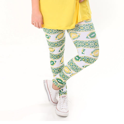 Ladies Yellow Green Football Arden Leggings