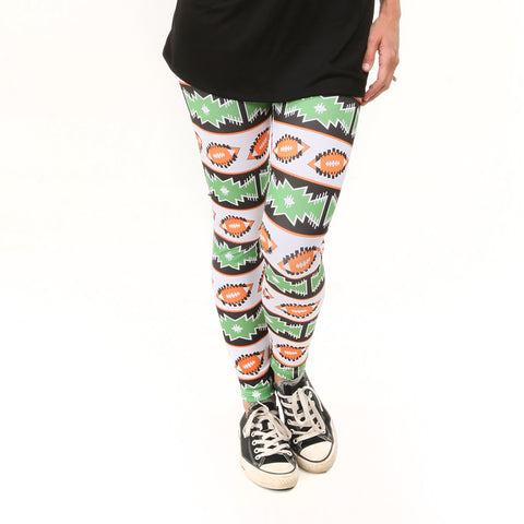 Ladies Black Orange Football Arden Leggings