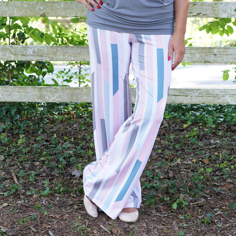 Pastel Linear Lines Palazzo Pant