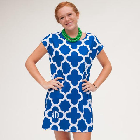 Blue White Quatrefoil Willa Dress