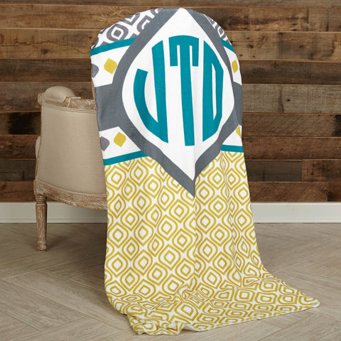 Teal Gold Charcoal Initial Throw Blanket