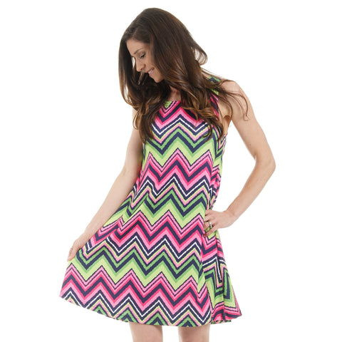 Chevron Rose Swing Dress