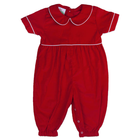 Red Corduroy Peter Pan Romper