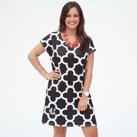 Black White Quatrefoil Willa Dress