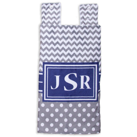 Gray Chevron Dot Navy Minky Initial Carseat Cover