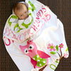 Baby Girls Owl Birth Info Blanket
