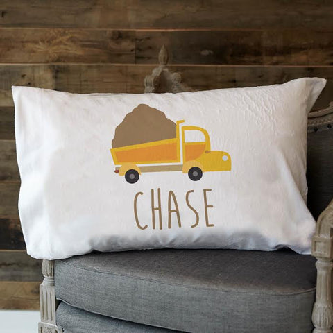 Dump Truck Name Minky Pillowcase