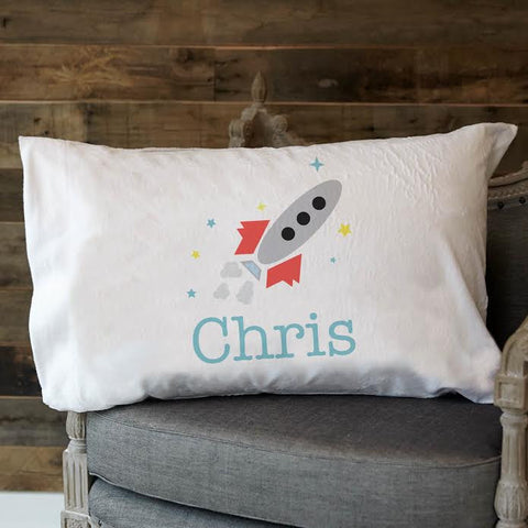 Rocketship Name Minky Pillowcase