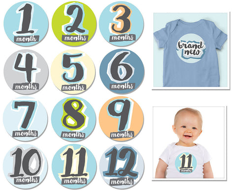 Monthly Hello Baby Boy Milestone Stickers