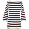 Brown Stripe Boatneck Top