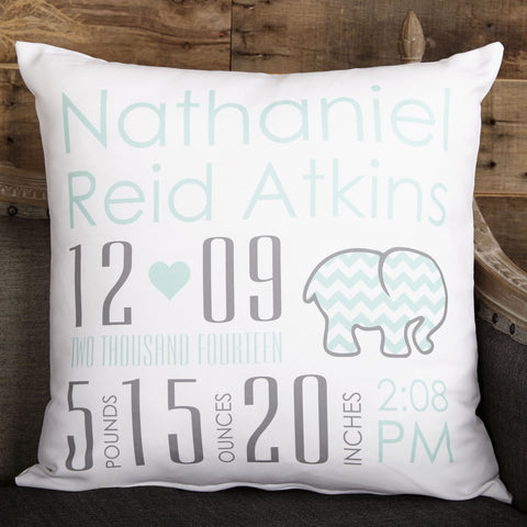 White Aqua Elephant Name Birthdate Weight Inches Pillow Cover