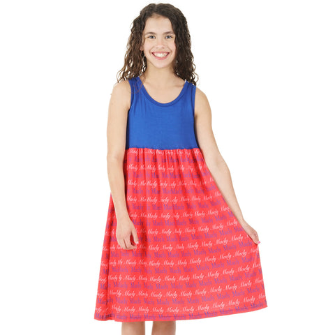 Blue Red Name Jada Tank Dress