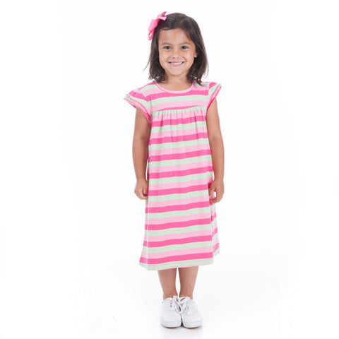 Pink Mint Stripe Yoke Dress